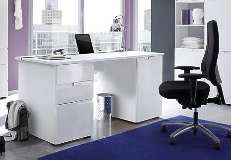 Scrivania Ufficio Bianco Lucido : Cellini ampia scrivania da computer in colore bianco lucido