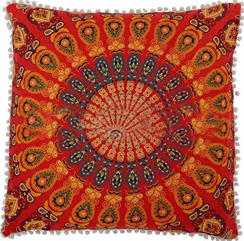26X 26'' Indian Decorative Peacock Mandala Euro Sham Cushion Cover Ethnic Cotton Mandala Pillow Cases, Indian Outdoor Cushion Cover, (Red) by Sophia Art