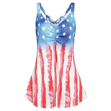 22b00af43c8a Image Unavailable. Image not available for. Color: Midress Women's Summer  Sleeveless V-Neck T-Shirt Tunic Tops Blouse Shirts Stripe America