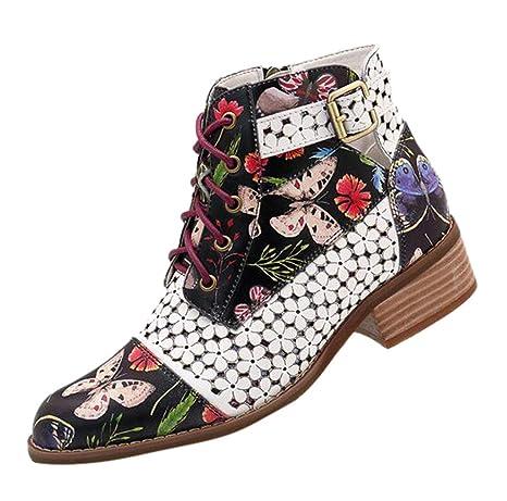 Proumy Botas Cortas de Mujer, Botas de Cuero Estampadas con Flores ...
