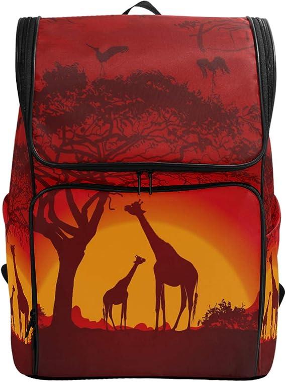 ZZKKO Mochila de animales del bosque africano jirafas