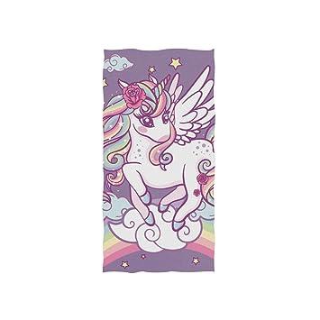 Ahomy - Toalla de Mano (38 x 76 cm), diseño de Unicornio Sobre arcoíris: Amazon.es: Hogar