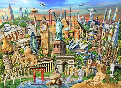Landmark Collection - YINYINEE 5D Diamond Painting Kit by Number World Landmarks Collection Full Drill Diamond Painting Kit Home Wall Decor