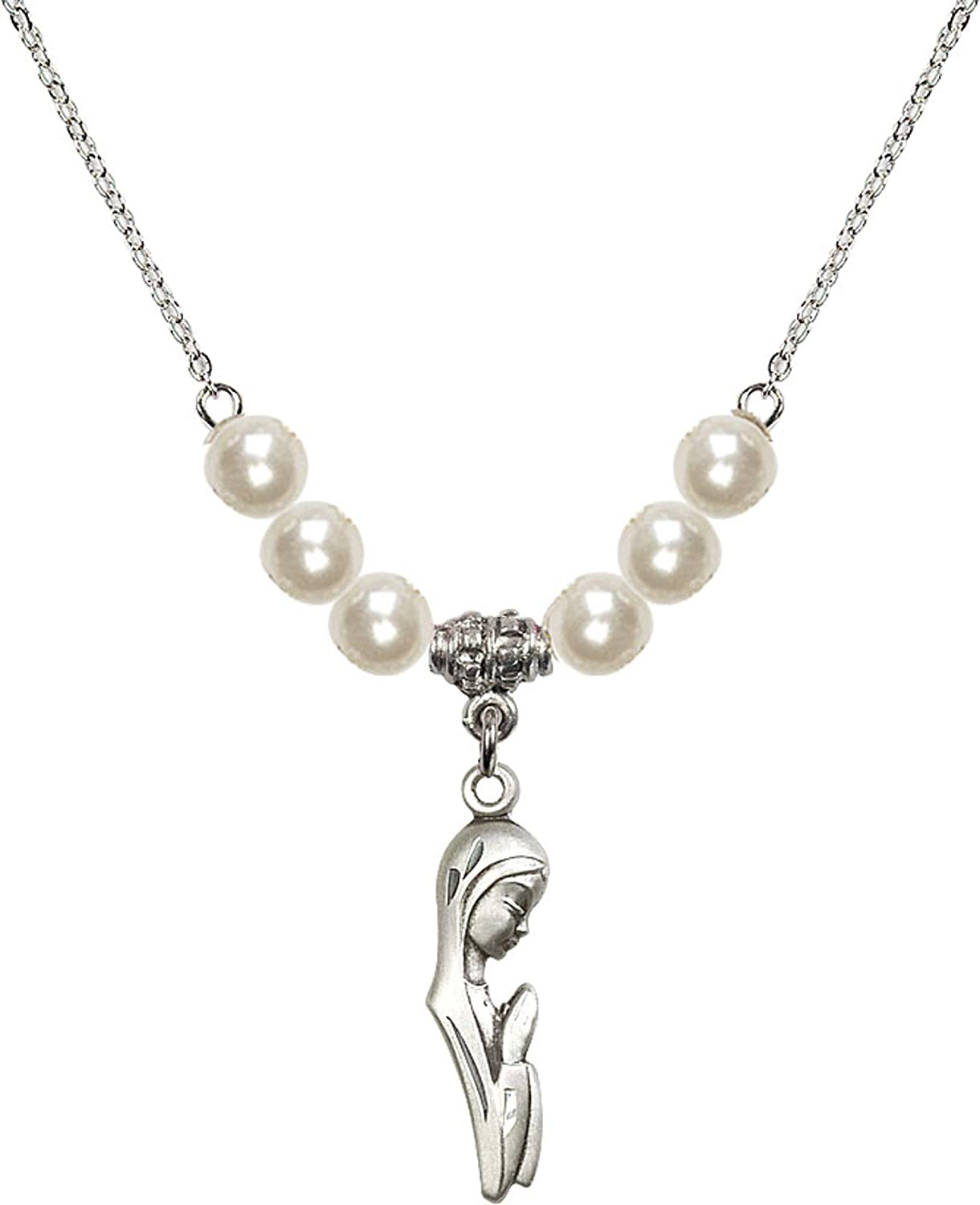 Bonyak Jewelry 18 Inch Rhodium Plated Necklace w// 6mm Faux-Pearl Beads and Madonna Charm