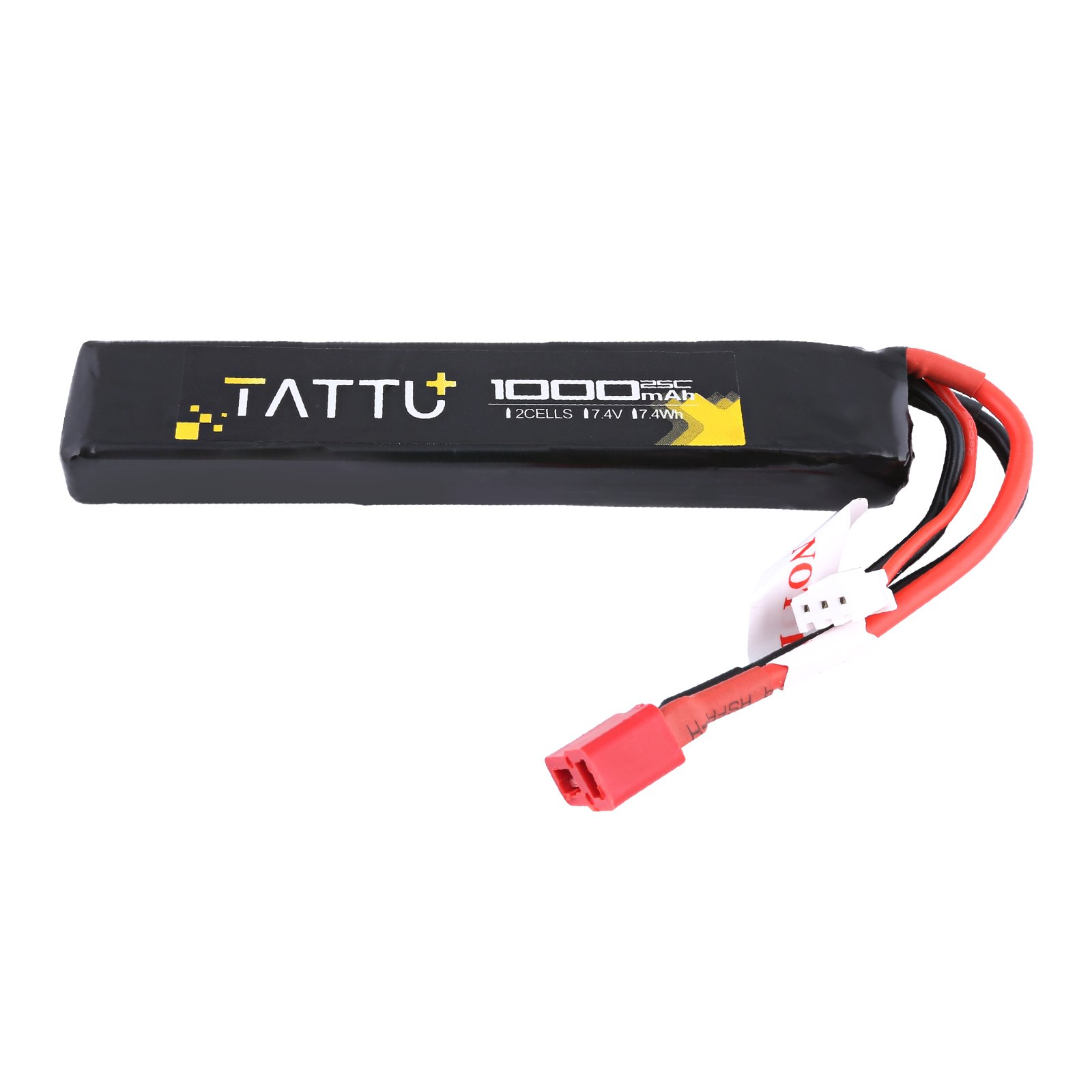 TATTU 7.4V Airsoft LiPO Battery with Deans Connector, 1000mAh 25C 2S Battery Pack For Airsoft Guns