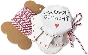Gl/äserdeckchen zum selbst beschriften f/ür Eingemachtes selbstgemachte Marmelade Recyclingpapier 10 m Schnur /& Justiergummi 25 Marmeladendeckchen Gr/ün als Abrei/ßblock Weihnachtsgeschenke