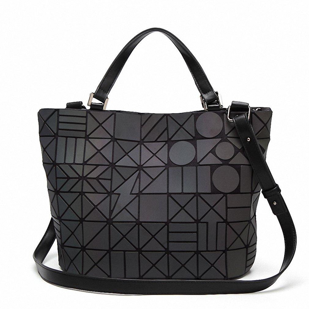4e14951789 Amazon.com  Famous Brands Women Geometry Sequins Mirror Laser Plain Folding  Bags Luminous Handbags PU Casual Tote Package Noctilucent Large  Clothing