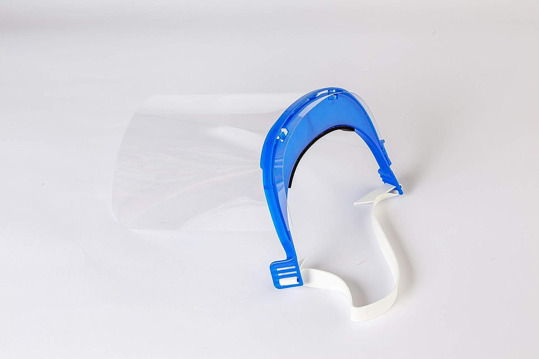 Protector Facial Visera Ajustable Visera Protectora Reutilizable Pantalla Protecci/ón Facial Pantalla Protectora Cara Ligera ServalPharm Azul