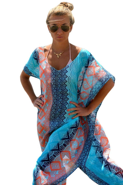 Yiyada Mujer Vestidos de falda de las mujeres atractivas de Bohemia Chic gráfico Miami Beach del poncho Kaftan ropa de playa de gran tamaño Pareos Pareo: ...