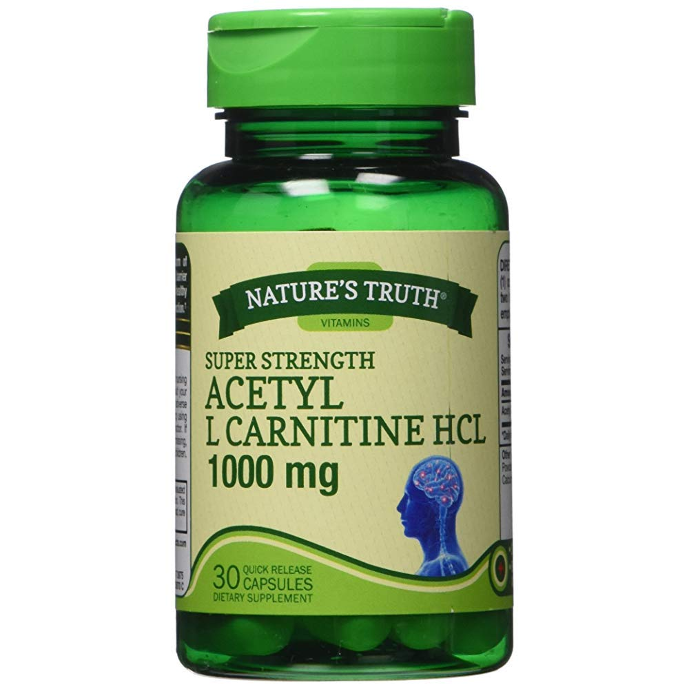 Nature's Truth Acetyl L Carnitine HCL 1000 mg - 30 Quick Release Capsules, Pack of 6