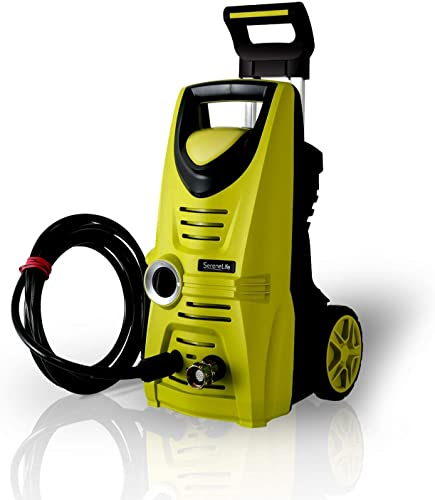 Serenelife Electric Pressure Washer – Powerful Heavy Duty 1520PSI Manual Adjustable High Low Cold Water Sprayer System Rolling Wheels – Power Wash Spray Clean Concrete Driveway Car Home