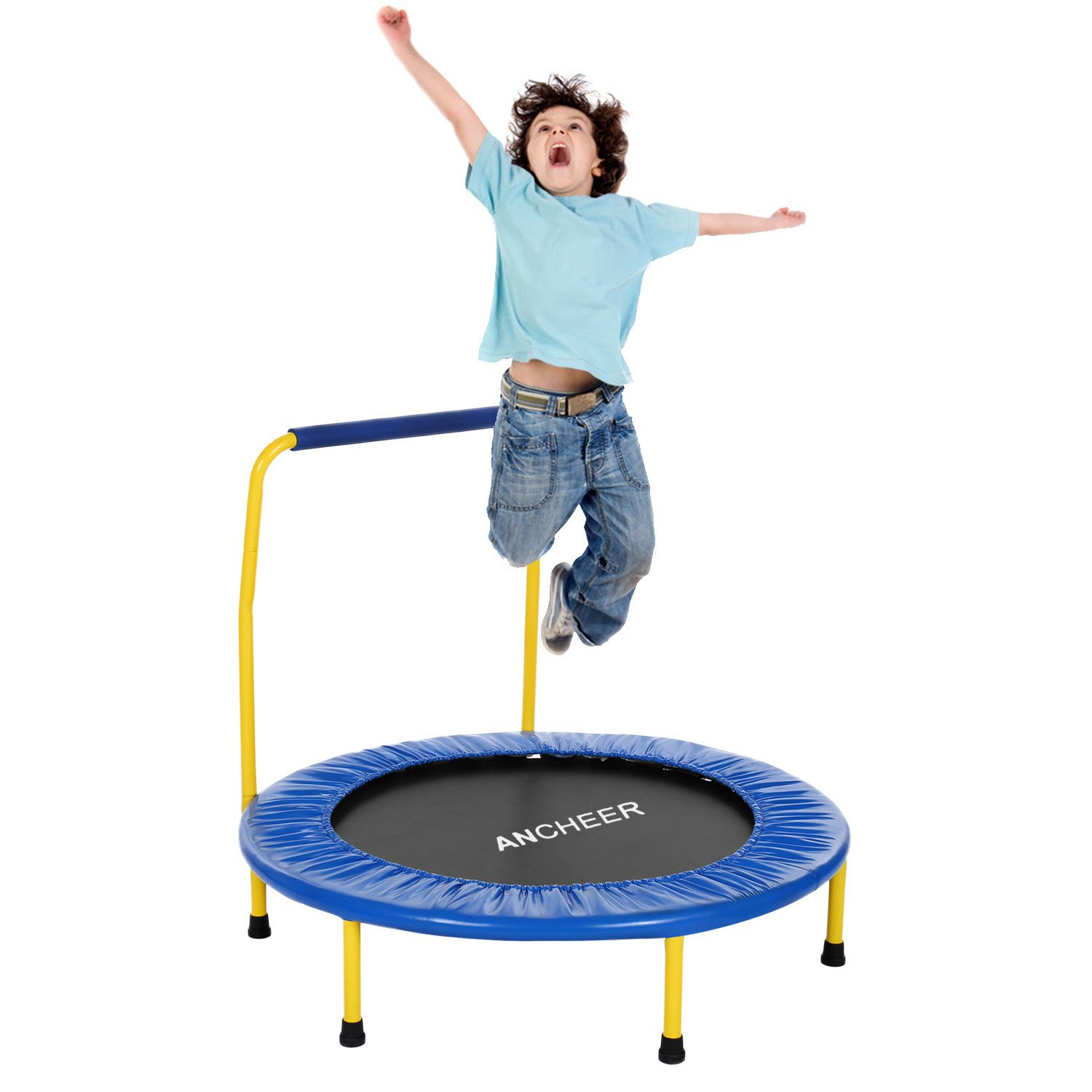 ANCHEER Mini Rebounder Trampoline with Handrail, Safe Trampoline for Kids (Blue)
