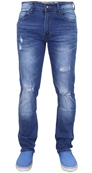 2c78b208931 Crosshatch Mens Designer Branded Ripped Distressed Slim Fit Jeans   Amazon.co.uk  Clothing