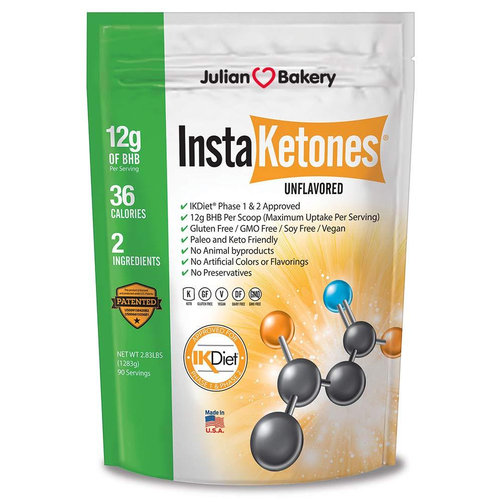 InstaKetones® 12g GoBHB® +Calcium Per Scoop (Unflavored) (90 Servings) Exogenous Ketones (2.83 lbs) by Julian Bakery