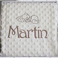 Manta bebé minicuna y capazo, doble capa color BEIGE, personalizada con el nombre y el diseño que elija bordados…