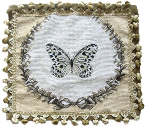 (Deluxe Pillows Black Spot Butterfly - 14 x 16 in. needlepoint pillow )