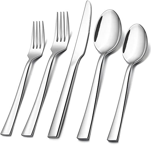 HaWare 45-Piece Stainless Steel Modern Elegant Flatware Set Silverware Set with Square Edge Mirror Polished /& Dishwasher Safe Service for 8 5-Piece Serving Set Includes 40-piece Cutlery Set