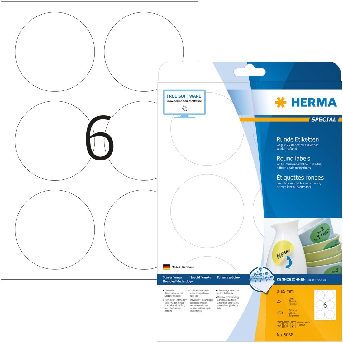 4385 Round HERMA Self Adhesive Removable Multi-Purpose Labels 315 Labels Per A4 Sheet 7875 Labels For Printers /Ø 10 mm