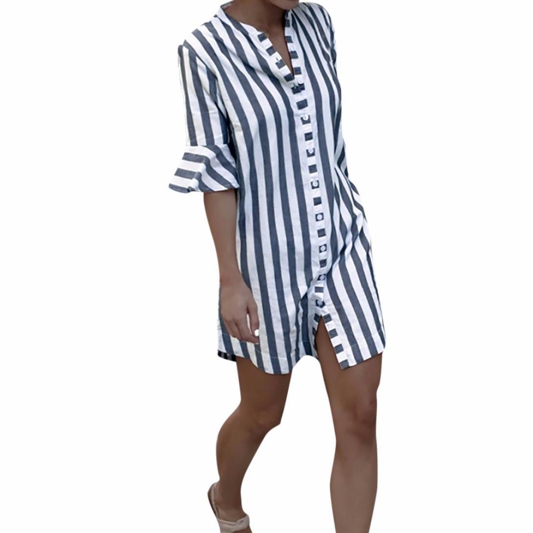 YULAND Crop Tops Damen Bekleidung Oberteile Damen Langarmshirt Damen Blusen Frau Horn Sleeve Striped halbe Ärmel Tops Lange Bluse
