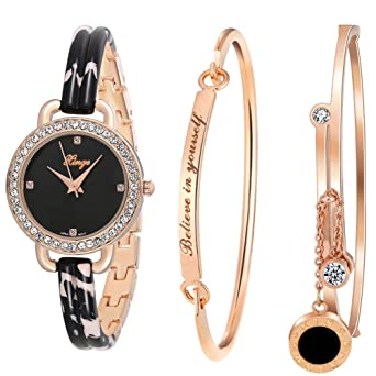 94ba63434e4 Image Unavailable. Image not available for. Color  Xinge Women s Dress Bracelet  Watch and Bangle Set Rose Gold ...