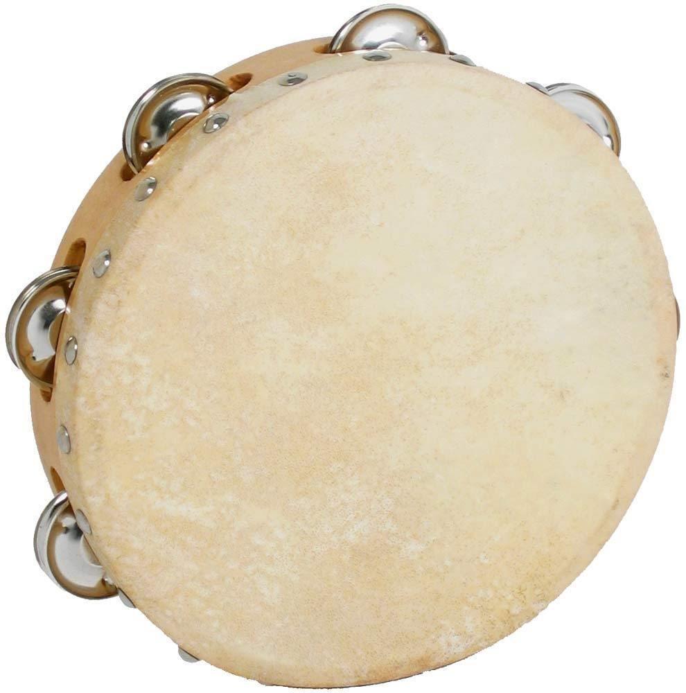 Quatro Percussion Wooden Tambourine double row tamborine (10 inch diameter)