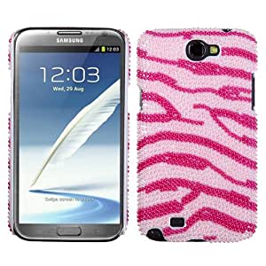 MYBAT Zebra Skin (Pink/Hot Pink) Pearl Diamante Back Protector Cover ( with Package ) for SAMSUNG T889 (Galaxy Note II)