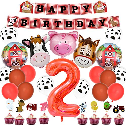 Farm 2nd Birthday Party Supplies (Farm Animal 2nd Birthday Party Kit - Barnyard Party Decorations with Farm Balloons Happy Birthday Banner Cupcake)
