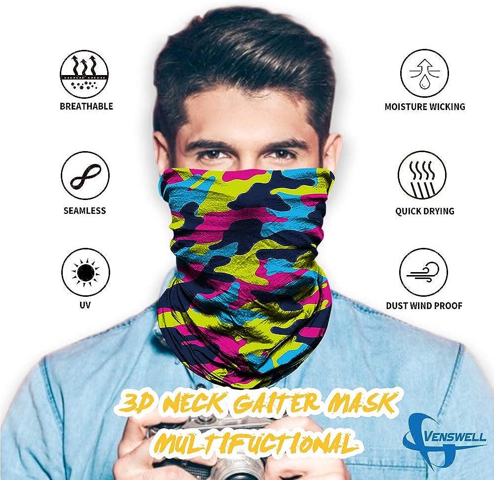 Party Seamless Face Bandana Multiple Face Scarf for Rave Headwear Traveling Sun UV Dust Protection Yoga Venswell 3D Neck Gaiter Mask for Men Women Sun Mask