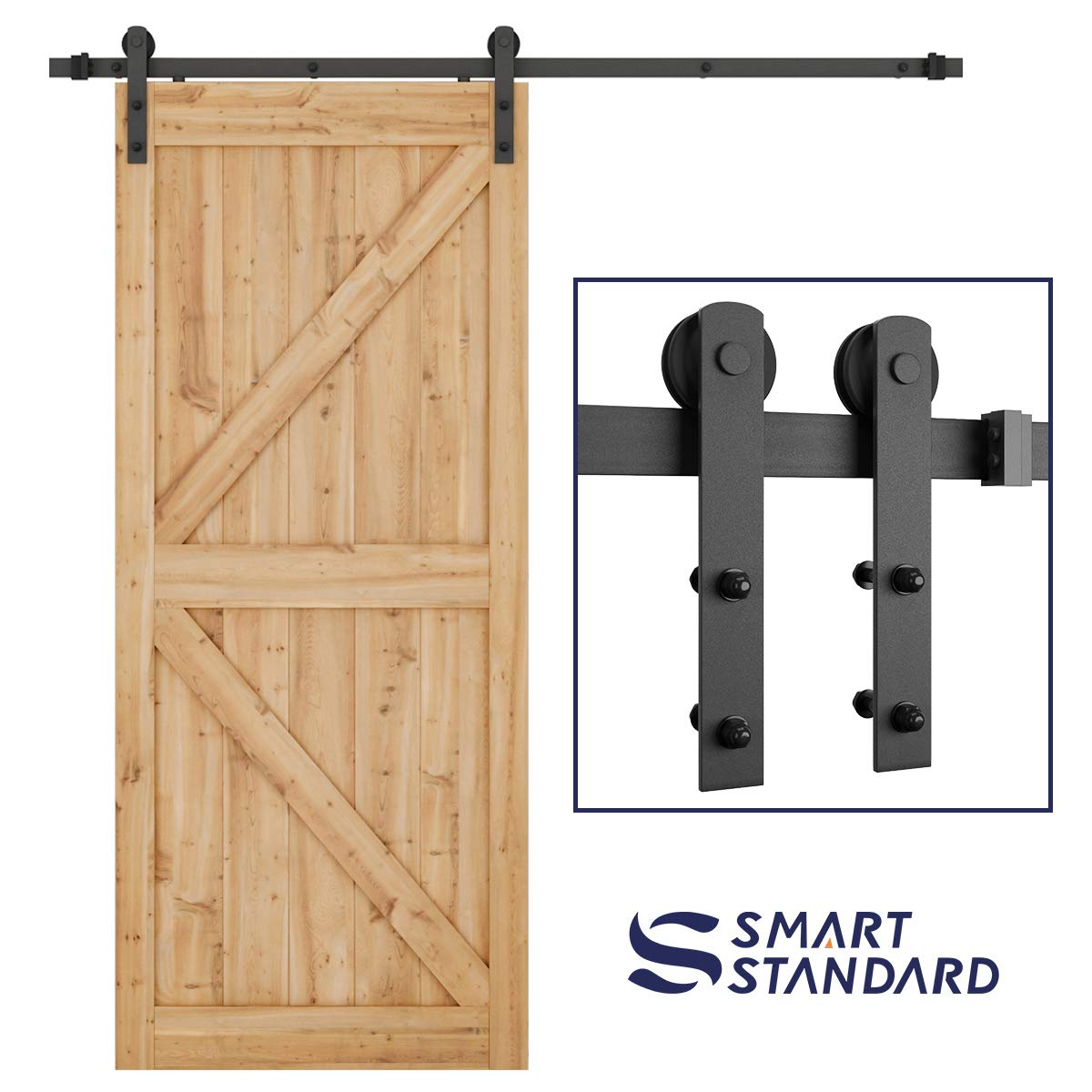 "SMARTSTANDARD 6.6ft Heavy Duty Sturdy Sliding Barn Door Hardware Kit -Smoothly and Quietly -Easy to install -Includes Step-By-Step Installation Instruction Fit 36""-40"" Wide Door Panel (I Shape Hanger)"