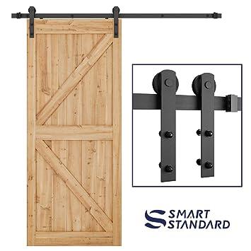 Smartstandard 6 6ft Heavy Duty S Y Sliding Barn Door Hardware Kit Smoothly And Quietly
