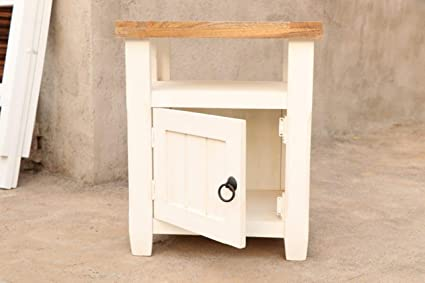 5df64a0b1f4 Image Unavailable. Image not available for. Colour  Online Wooden Store  Mango Wood White Storage Bedside End Table ...