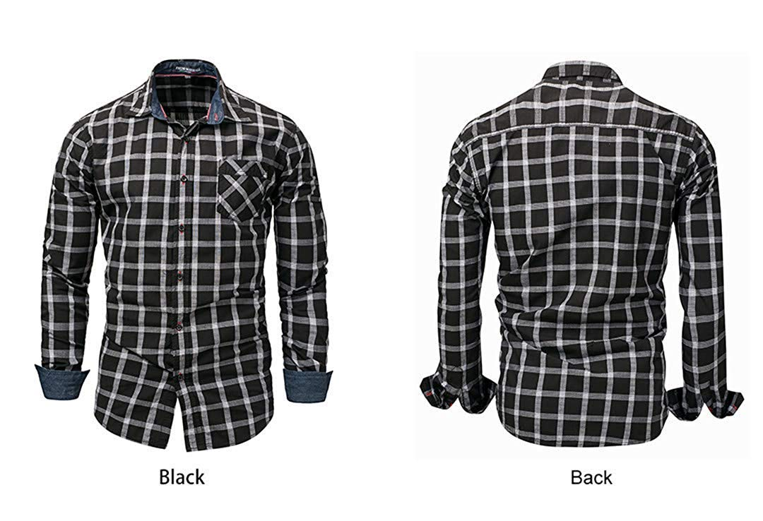 d9cf170c235a5 Black Fashion Men's Long Sleeve Sleeve Sleeve Plaid Dress Shirt ...