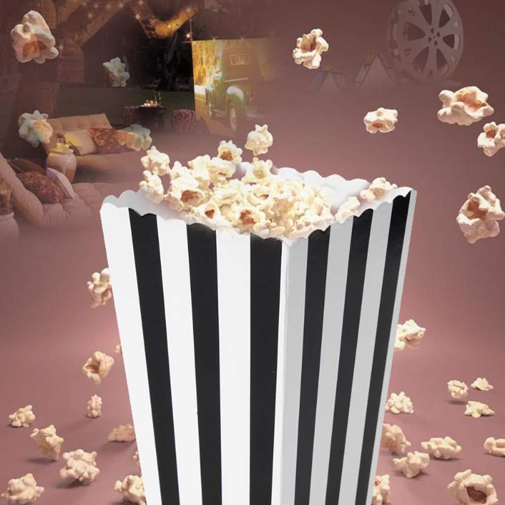 Ogquaton Premium 12pcs Popcorn Boxes Bags Holder Movie Theater Striped Popcorn Boxes Cart/ón Candy Container para la Fiesta Bocadillos Palomitas de ma/íz y Chocolates Azules Dulces