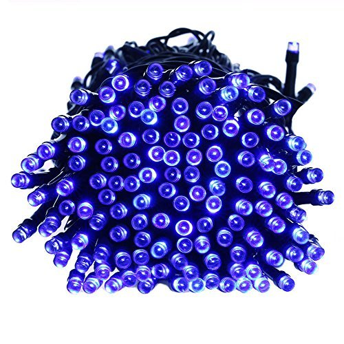 Qedertek 200 LED Solar String Lights, 72ft Halloween Decorations Lighting for Home, Lawn, Garden, Wedding, Patio, Party and Holiday Decorations (Blue) from Qedertek