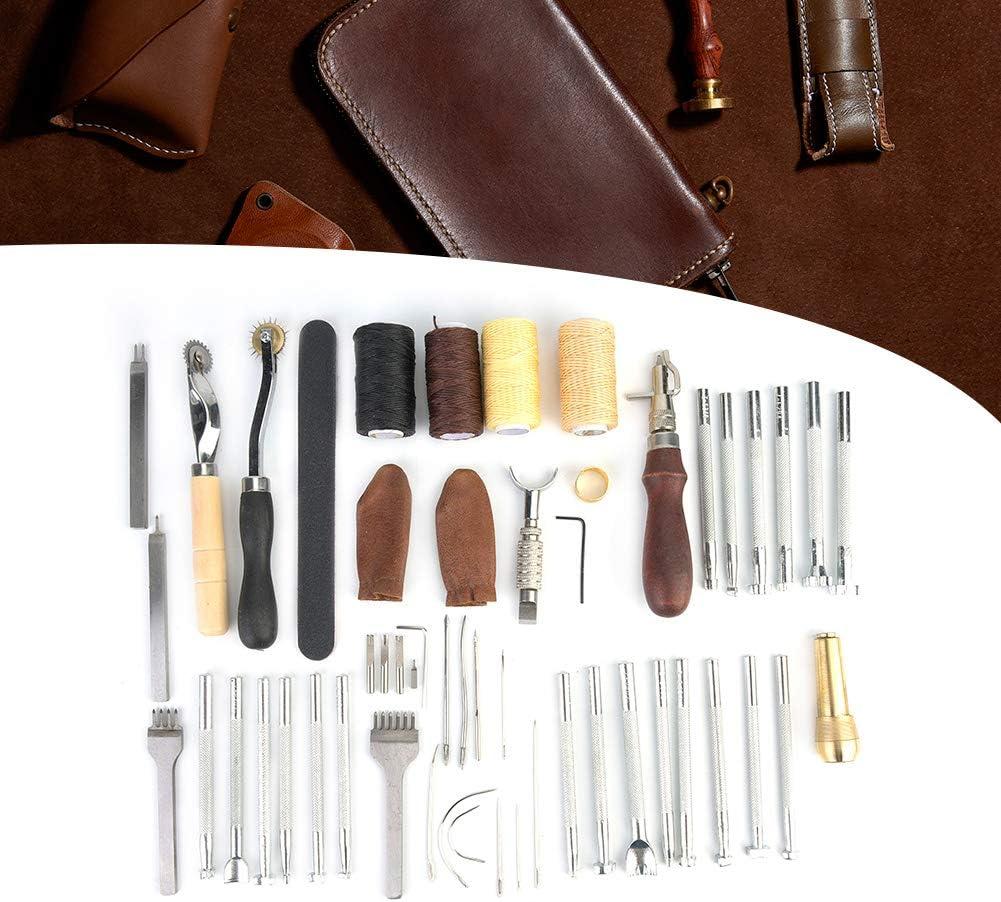 34 St/ück//Set Professionelles DIY-Bastelwerkzeug f/ür Leder f/ür Anf/änger zum Basteln von Leder Bicaquu Lederwerkzeug