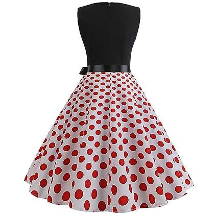 Culater Vestido Vestido Sin Mangas con Estampado De Cuello Redondo Y Estampado De Cuello Redondo De La Década De 1950. Vestido De Mujer.