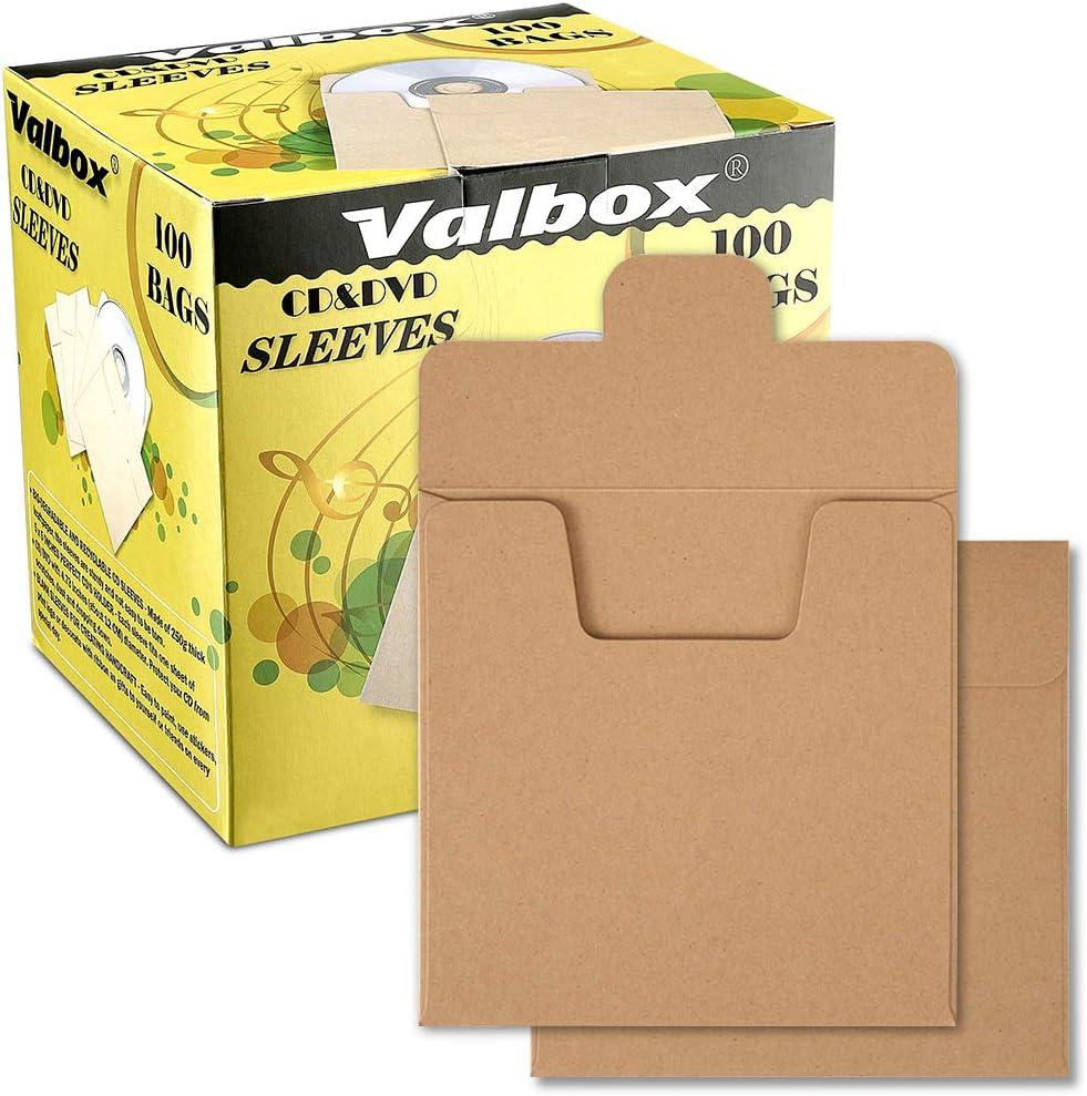 ValBox - Sobres de Papel Kraft para CD y DVD, 5 Unidades, 100 Unidades, Color marrón: Amazon.es: Electrónica