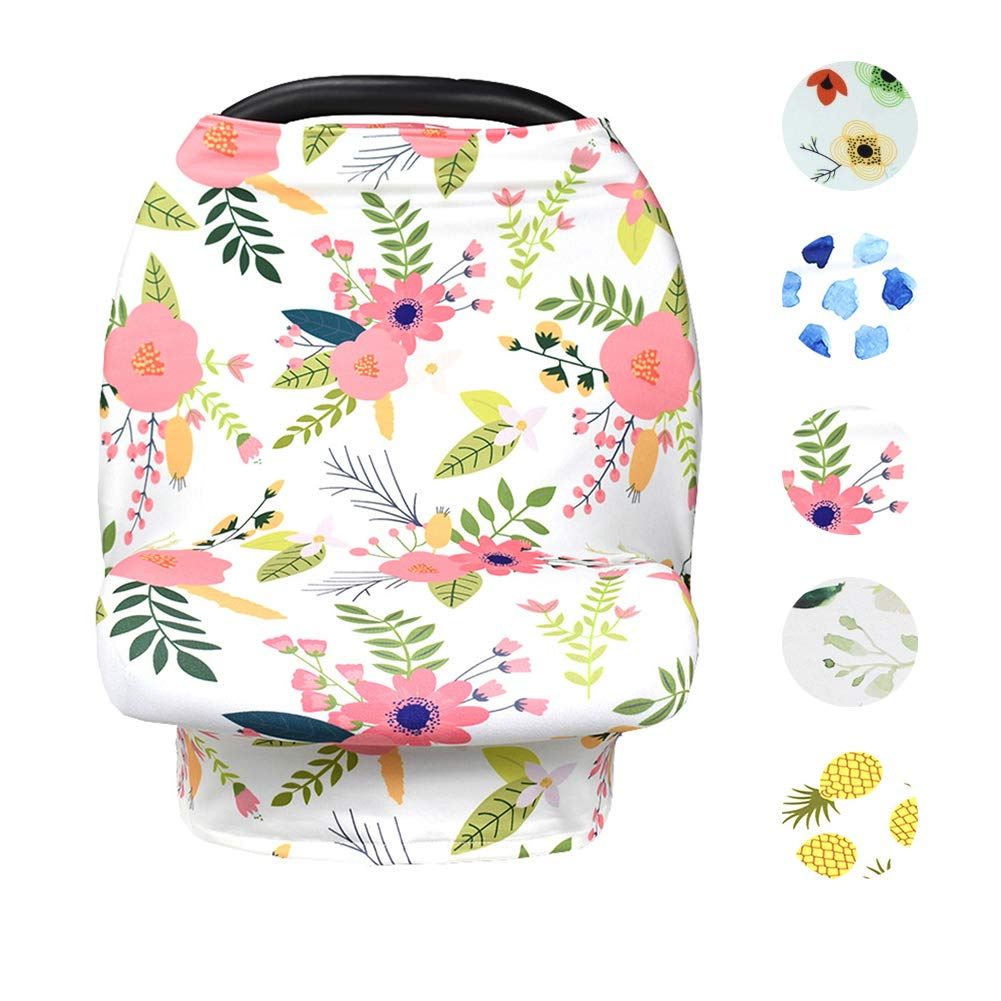 Baby Nursing Cover Up Breastfeeding Covers Stroller Scarf Floral (White-Pink) by Yoeyzo
