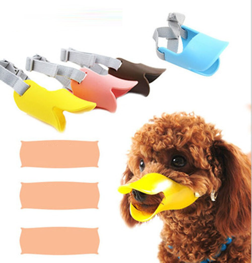 Fashion 1989 Pet Dog Muzzle Mask Silicone Moderate Hardness Duckbill Muzzle for Dog Puppy 4Colors 4Sizes (L 1yellow+1green)