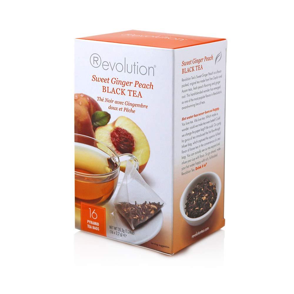Revolution Tea Black Tea, Sweet Ginger Peach, 16 Count (Pack of 6)