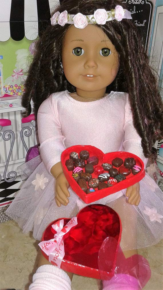 Polymer Clay Food BJD AG Bakery Doll Food Valentine Heart of Chocolates fits 18 American Girl Dolls Valentine for Dolls