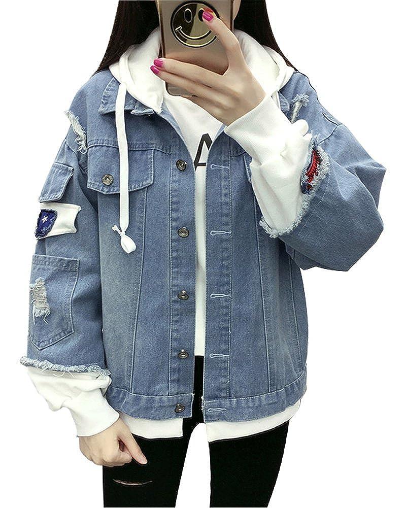 Minetom Donna Ragazze Primavera Autunno Rose Ricamo Denim Giacca Capispalla Outerwear Giubbino Manica Lunga Corto Jeans Jacket BW170321-GR-IT05