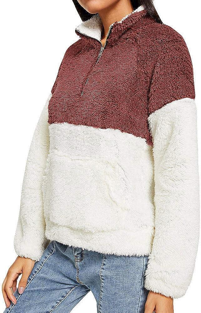 Blouses for Women,Womens Tops Plush Size Tops Fluffy Fleece Sweatshirt Outwear