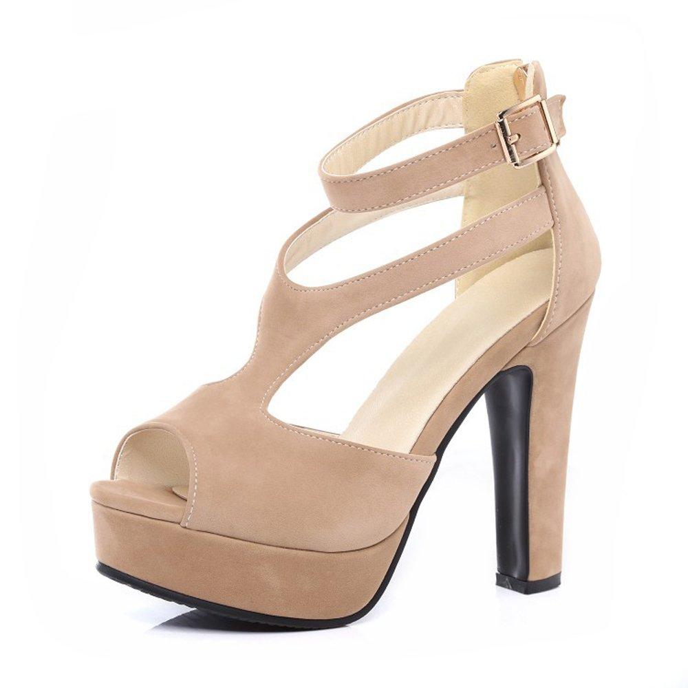 Khaki GATUXUS Women Platform Open Toe High Chunky Heel Pumps Dress shoes Dance Sandals
