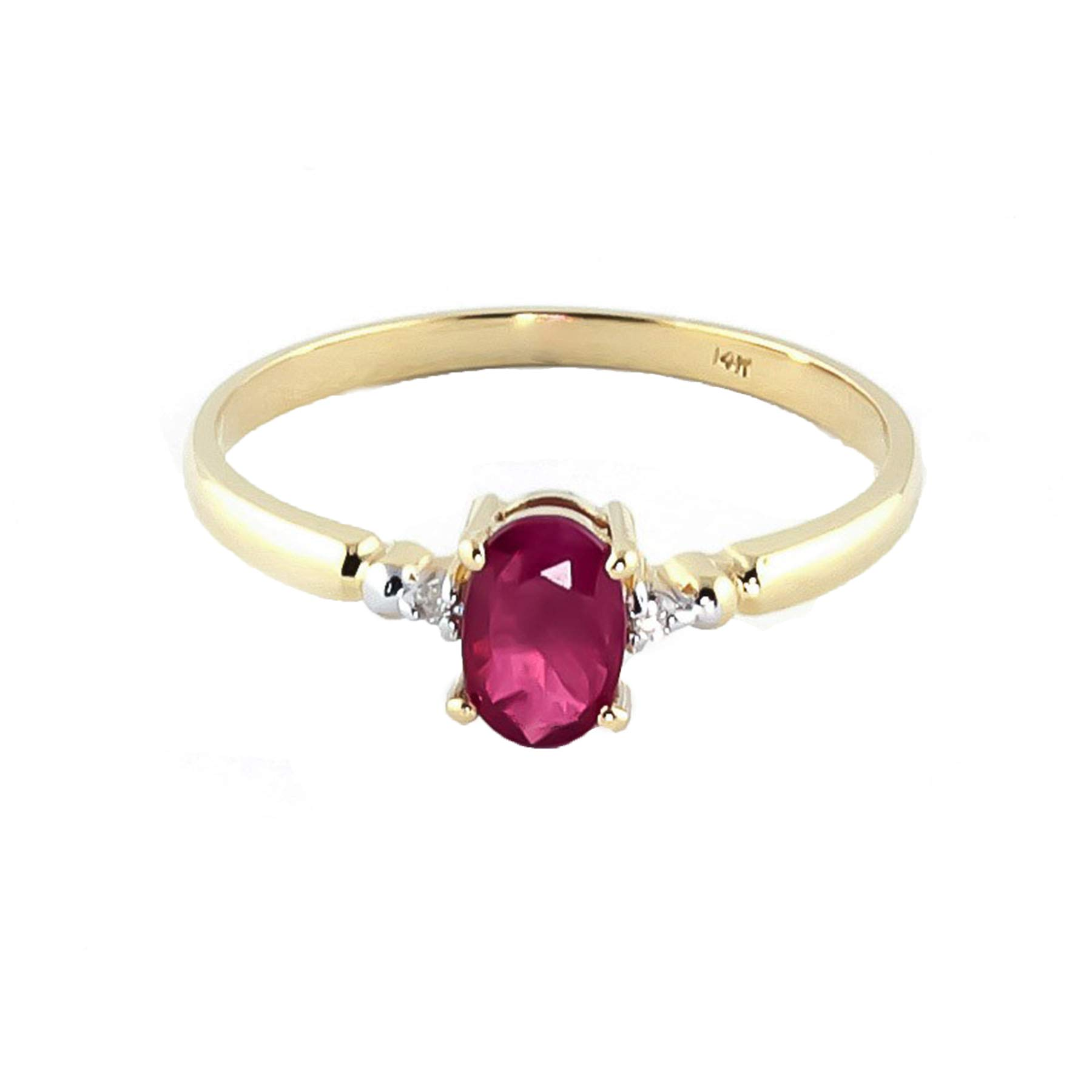 Galaxy Gold 14K Solid Yellow Gold Ring with Natural 0.51 Carat Diamond Ruby (6.0)
