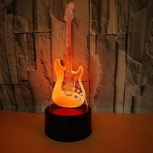 3D Lámpara de Ilusion óptica Colores con Control Remoto guitarra ...