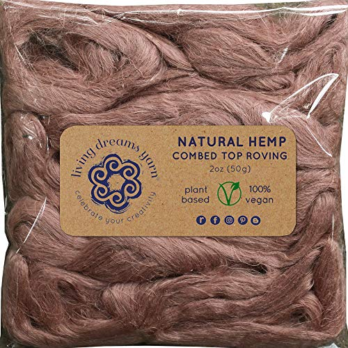 Hemp Fiber for Spinning, Blending, Felting & Fiber Arts. Natural Vegan Combed Top. Blush