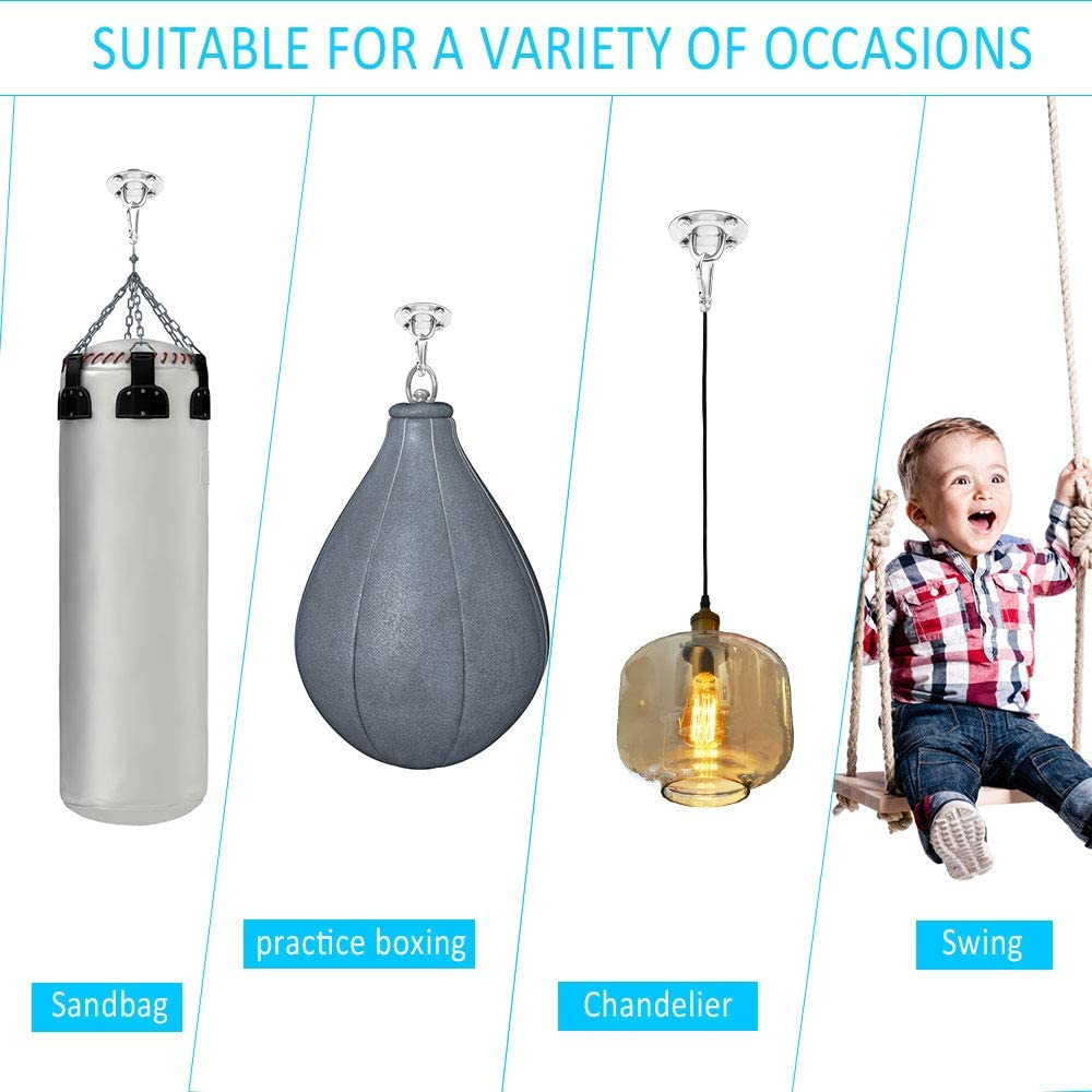 Hanging Chair Swing Hook Hammock Hanging Hooks Kit Stainless Steel Ceiling Mount Heavy Duty Hook for Porch Chair Yoga Hammock Gym Swing Huayue 2 Set Ceiling Hook