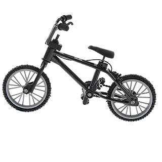 DYNWAVE 3.94 inch Mini Alloy Finger Bike, Mini Extreme Sports Finger Bicycle, Metal Artwork for Home Office Desk Decor (Black)