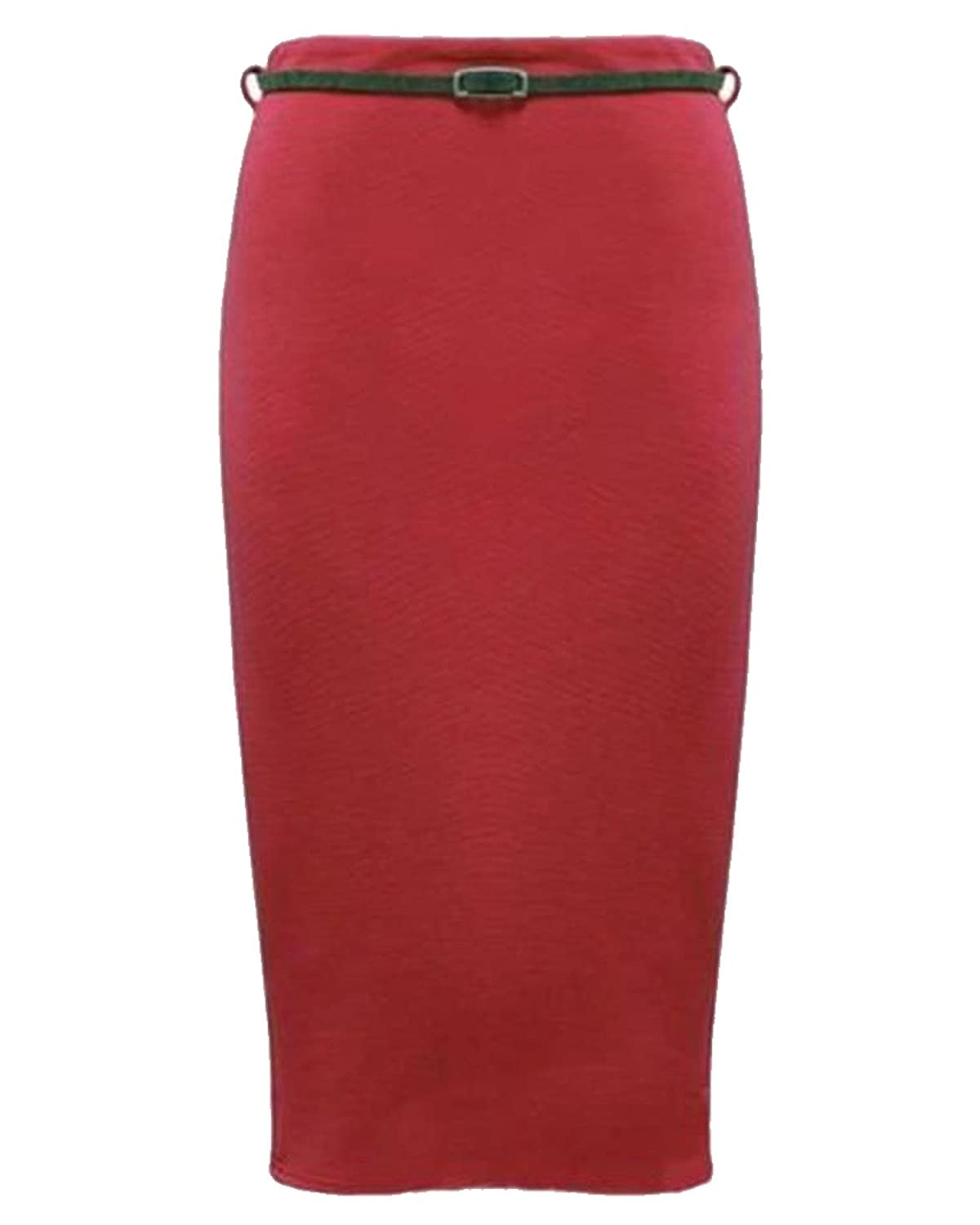Womens Belted Plain Pencil Skirts Long Bodycon Stretch Office Skirt